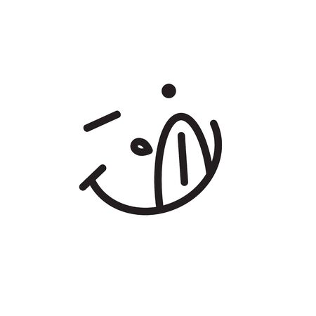 Hungry emoticon with tongue and saliva, yum emoji, delicious food sign, vector icon