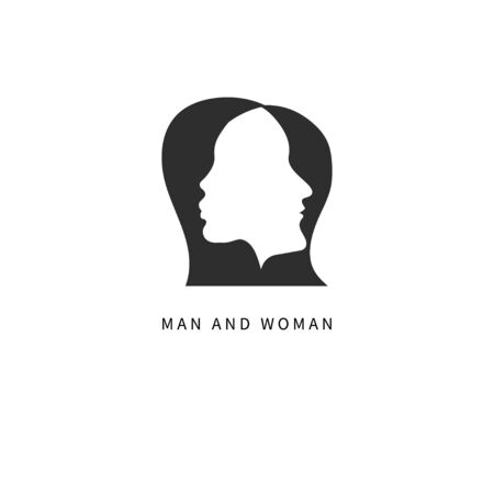 Two profiles, man and woman, family psychology icon, couple logo. Vector illustration