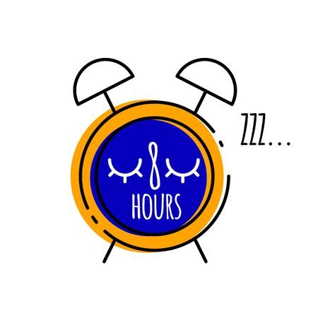 Cartoon alarm clock with inscription eight oclock in flat style, vector illustration of healthy sleep