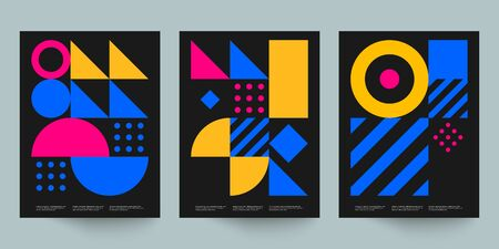 Bauhaus geometric minimal poster, cover for booklet, brochure, vector color template, black and yellow swiss pattern Çizim