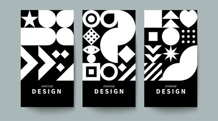 Vertical monochrome flyer in the style of scandinavian design, geometric background with shapes, black and white vector graphics