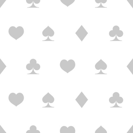 Seamless pattern with suits of playing cards, black and white vector illustration for casino