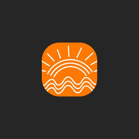 Sun and sea icon, hand drawn travel log, orange vector sign