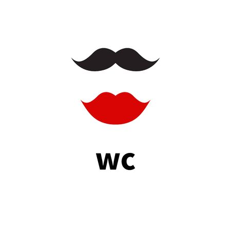 Hipster icons for wc, toilet, restroom, water closet. Lips and moustache, vector illustration Çizim