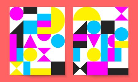 Bauhaus geometric minimal poster, cover for booklet, brochure, vector color template, swiss pattern