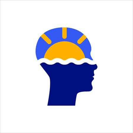 Sun and sea in human head, symbol of travel,   tourist agency, vector icon concept vacation