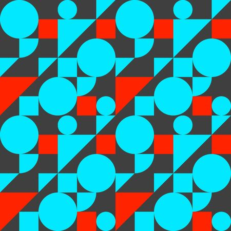 Bauhaus style seamless pattern, geometric modern flat background with shapes, blue and red vector graphic composition Çizim
