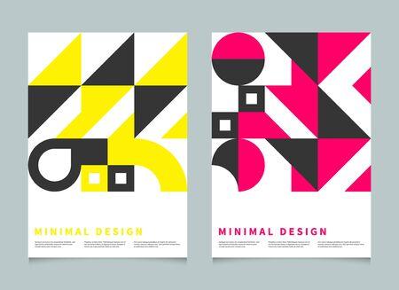 Póster minimalista geométrico Bauhaus, portada para folleto, folleto, plantilla de color vectorial, patrón suizo