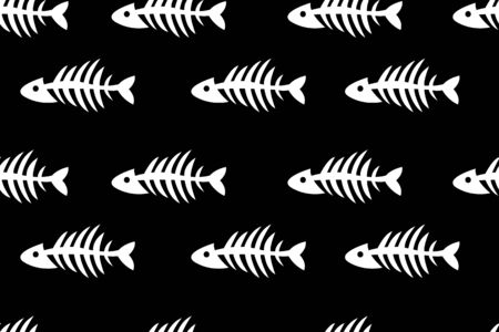 skeletons of fishes, seamless fashion pattern, repeat background with fishes, bones, animal banner, print for textile, fabric, vector black and white illustration