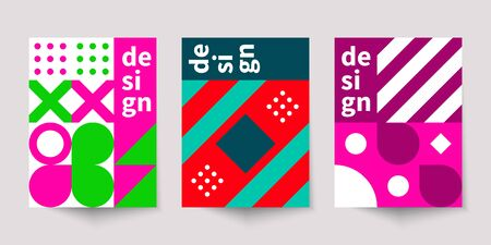 Bauhaus geometric minimal poster, cover for booklet, brochure, vector color template, colorful swiss pattern