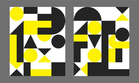 Bauhaus geometric minimal poster, cover for booklet, brochure, vector color template, yellow and black swiss pattern Çizim