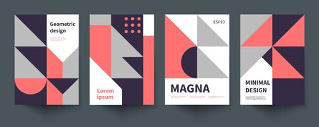 Minimalistic geometric poster, minimal cover template, A4 brochure, swiss style vector graphic design Çizim
