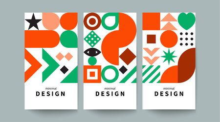Vertical color poster in style of scandinavian design, geometric background with shapes, vector graphics Stok Fotoğraf - 138738886
