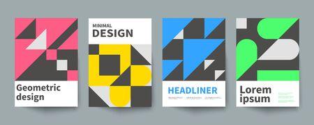 Poster geometrico minimalista, modello di copertina minimale, brochure A4, design grafico vettoriale in stile svizzero