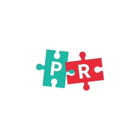 PR, public relations vector icon, letters p and r on puzzle