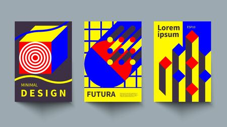 Minimalistic geometric poster, minimal cover template, A4 brochure, swiss style vector graphic design