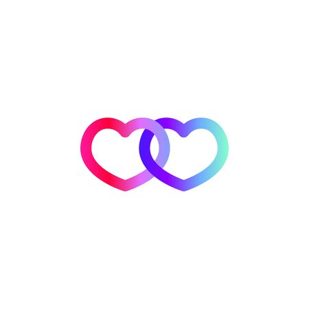 Two connected gradient hearts, vector color icon Stock Illustratie