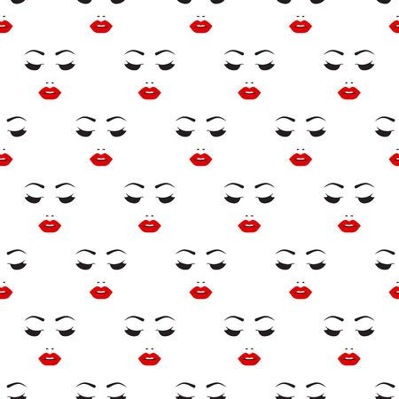 Seamless pattern with female beautiful face, background for beauty salon, fashion vector print