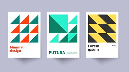 Swiss minimal posters, geometric bauhaus backgrounds, graphic covers design. Minimalist vector illustration, modern posters