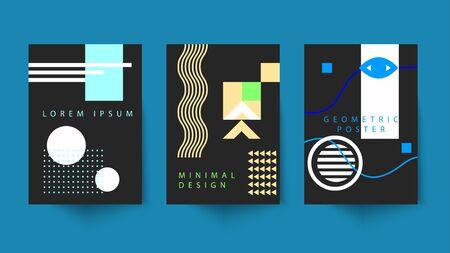 Minimal posters in swiss style, bauhaus modern cover, geometric retro pattern, minimalist vector geometric design