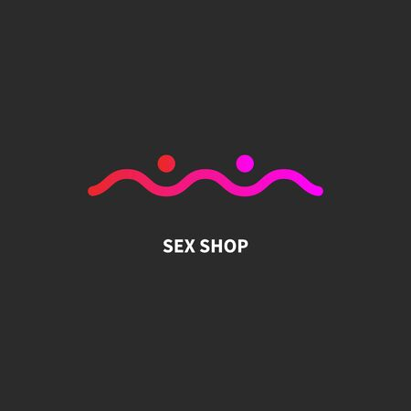 Sex shop logo, sex club icon with abstract female breasts, minimal vector graphic design Ilustração
