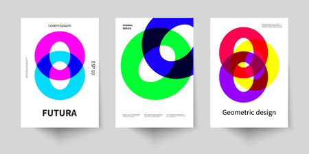 Geometric set of poster in style of bauhaus. Abstract retro composition. Geometric pattern background. Brand identity. Business presentation layout. Abstract poster with circles. Business brochure, flyer design.