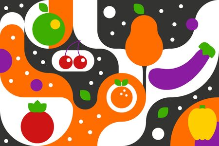 Fruits and vegetables on geometric background in bauhaus style, fashion pattern with curves, geometic fruits and vegetables pear, apple, cherry, eggplant, orange. Vector illustration