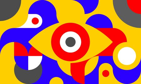 Funky background in bauhaus style with eye, curves and circles, retro poster with geometric shapes in style of 80s, fashion vector minimal pattern.