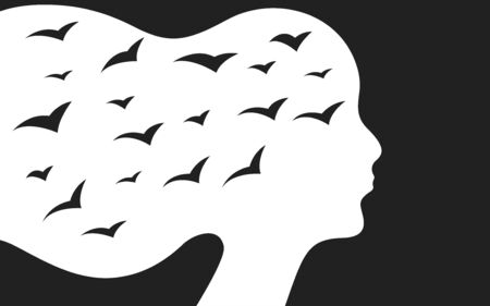 Profile of depressed woman