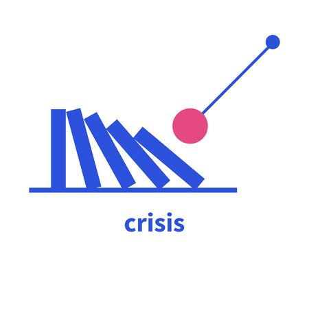 Falling domino icon, metaphor for crisis or fall, crash symbol, failure sign. Vector illustration