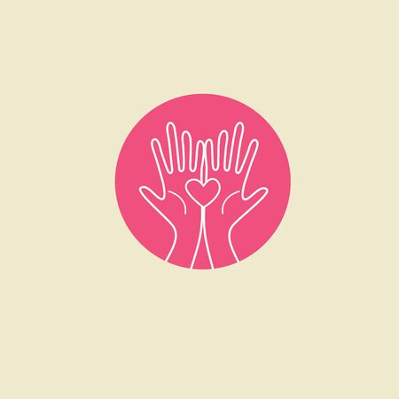Heart in hands, concept of volunteer help, charity foundation. Concept of support, care and love. Color illustration