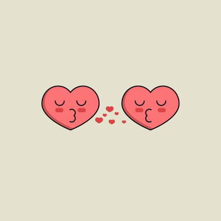 Two kissing red hearts, love icon. Online dating symbol. Marriage agency logo