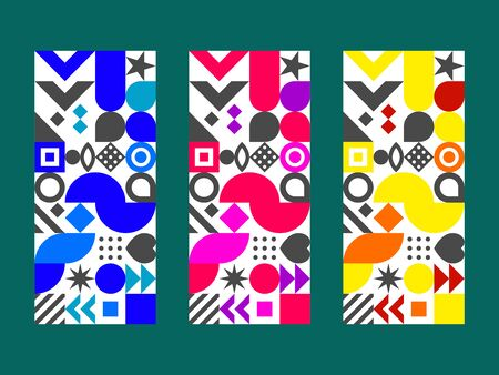 Label for wine in Bauhaus style. Abstract geometric background in Memphis style