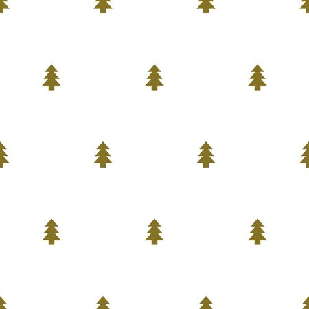 Cristmas trees on white background. Seamless Christmas gold tree pattern for wrapping paper or textile. Winter wallpaper Illustration