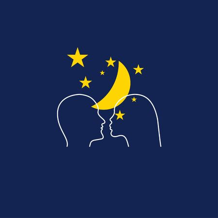 Man and woman against background of stars and moon. Romantic Dating online. Love icon. Two profiles