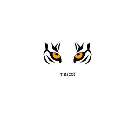 Mascot Tiger. Tiger eyes on white background