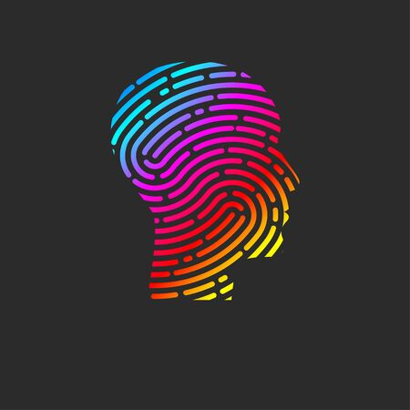 Logo security. Profile of person with fingerprint in his head. Info security icon. ID sign