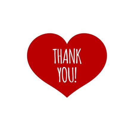 Red heart with words thank you