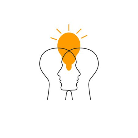 Two profiles and lamp icon. Empathy, psychology of logo. Line vector sign