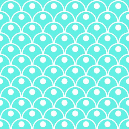 Princess light green seamless pattern for textiles, fabric. Kids girly print with circles. Mermaid tail, fish scales. Vector cute pattern. Vettoriali