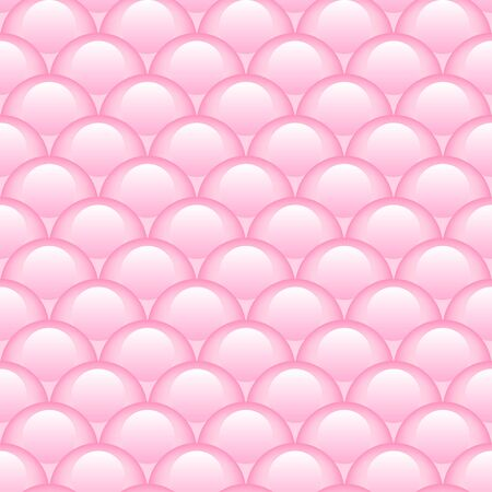 Princess pink seamless pattern for textiles, fabric. Kids girly print with circles. Mermaid tail, fish scales. Vector cute pattern. Vettoriali