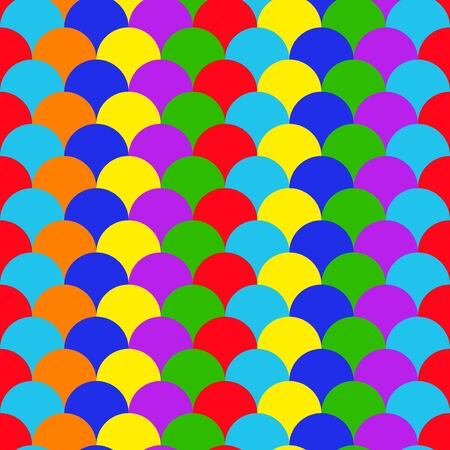 Rainbow seamless pattern with circles. Bright vector background