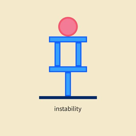 Unstable system icon, vulnerability in business, symbol of balance, idea of financial risks Ilustração