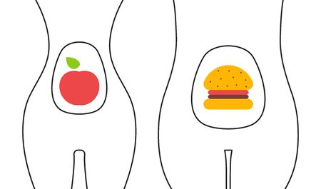 Healthy and junk food illustration, comparing two womens bodies slim and fat