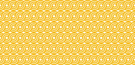 Pasta seamless geometric abstract pattern for packaging, wrapping paper. Spaghetti or noodles background for textiles, print, fabric. Vector yellow flat illustration