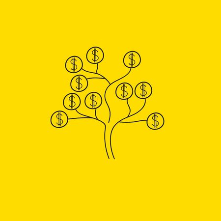 Money tree, dollars growing on tree. Business sketch, hand drawn abstract illustration