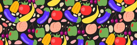 Fruits and vegetables color wide banner with tomato, eggplant, apple, funny hand drawing background