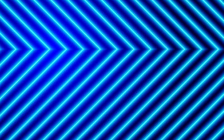 Neon arrows on blue background, technology design element