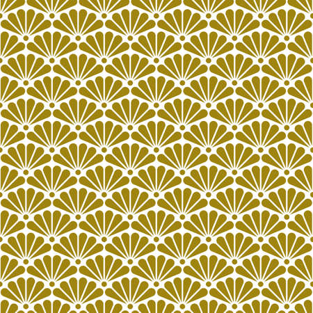 Art Deco seamless gold pattern in 1920s style, geometric retro background with gold fans, chinoiserie style. Vector illustration