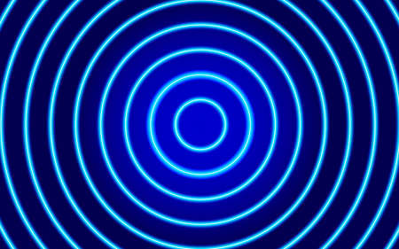 Circular neon glowing blue background, diverging circles, element for technology poster, banner, flyer